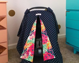 Polka dot and floral carseat cover
