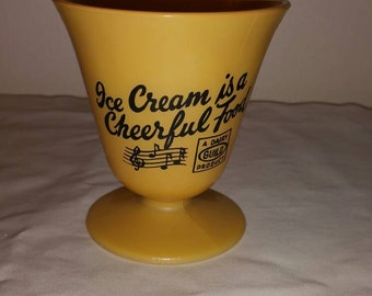 "Vintage Hazel Atlas ""Ice Cream Is A Cheerful Food"" Bowl/Cup/Dish - A Dairy Guild Product"