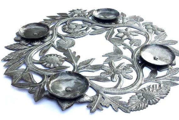 """Advent Wreath or Center Piece for your Table, made in Haiti of Recycled Metal 15"""" x 15"""""""