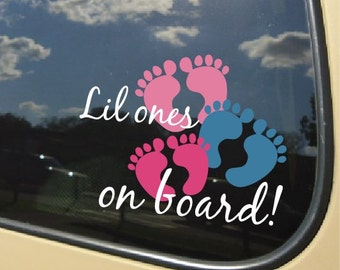 Lil ones on board, babies, Car decal 3 sets of feet