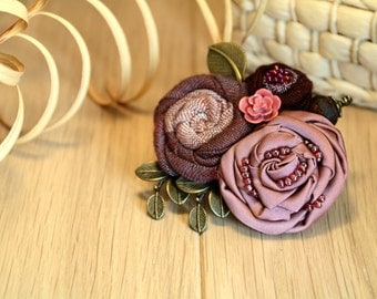 Textile jewelry. Fabric Flower Brooch. Flower Brooch flower pins jewelry brooch Handmade Unique gift for Her Present for woman