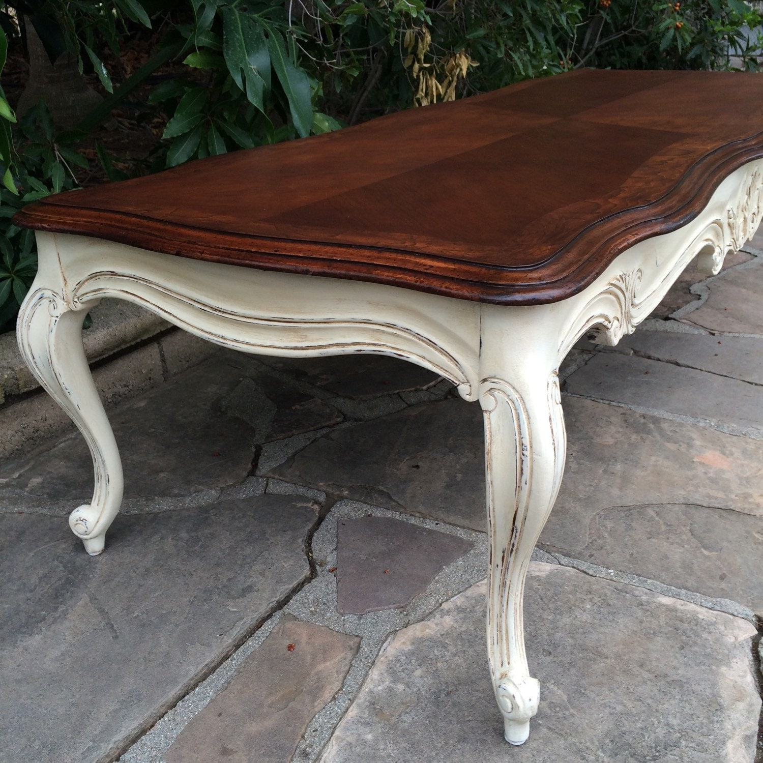 French Provincial Solid Wood Long Coffee Table By Ladderbackgirl