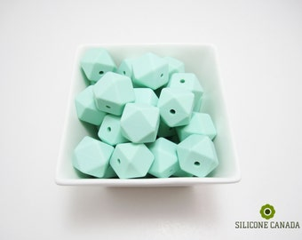 5 Silicone Beads (Mint Green Hexagon 17mm), BPA Free FDA Approved Food Grade Silicone Teething Necklace Nursing Necklace Wholesale Welcome!