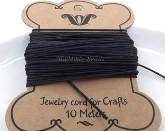 ON SALE 1MM Black Waxed Cotton Cord 10 Meters