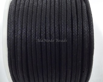 2MM Black Waxed Cotton Cord 3 Yards