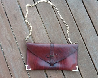 VINTAGE 70's leather clutch shoulder bag