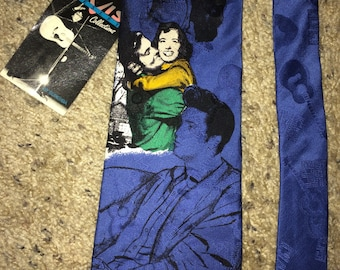 Sale!!  Vintage 90s ELVIS PRESLEY Collection Necktie Love me Tender Print Italian Silk Tie Made in USA