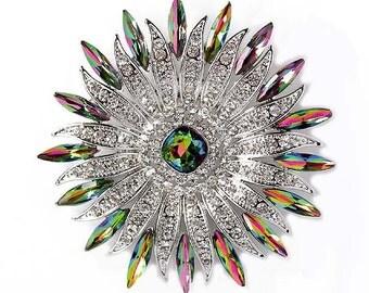 Rhinestone Brooch, Rainbow Wedding Brooch, Rainbow Bridal Brooch, Mystic Topaz Crystal Brooch, Rainbow Brooches for Bouquet Wedding Crafts