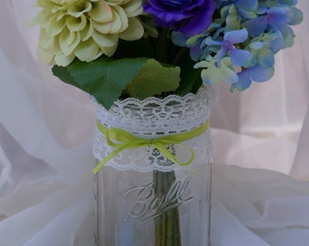 1 - 32oz (Qt) GREEN APPLE Lace Mason Jar