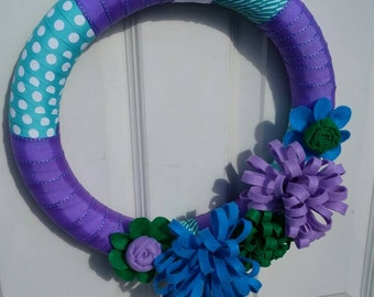 Purple, Green, Blue Felt Flowers & Ribbon Wreath - Spring Wreath - Summer Front Door Wreath - Everyday Front Door Wreath