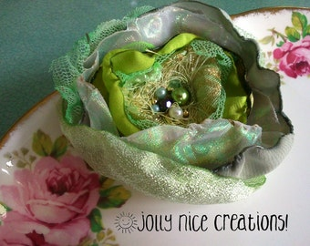 FABRIC FLOWER BROOCH Iced Gem (Medium) - Hand-made multi-layered corsage with sparkly beaded centre - minty green/pearl - Free Uk postage