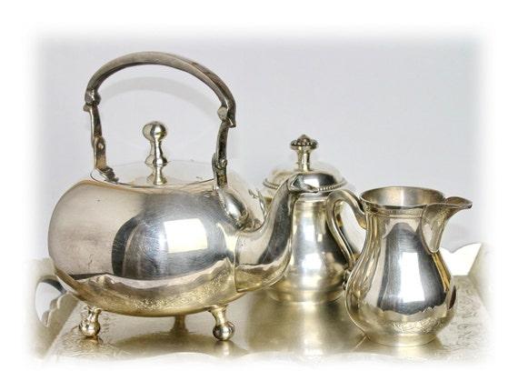 Vintage Teapot Set Silverplated Teapot Old Tea Sets Silver Tea