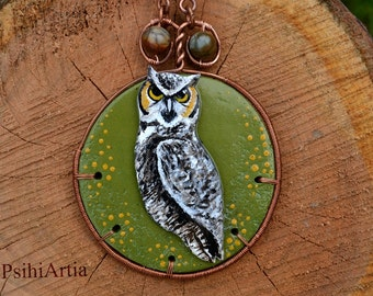 Owl necklace jewelry Owl necklace Owl jewelry Polymer clay necklace Wire wrapped necklace Polymer clay jewelry OOAK gift Polymer clay owl