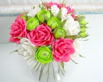 Paper wedding decor/ Wedding bouquet/ Bridal bouquet/ Paper flower centerpiece/ Paper bouquet/ Pink roses/ Ivory/ Green ranunculus/ Roses