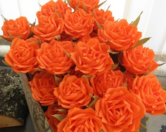 Wedding bouquet/ Paper decor/Orange crepe paper roses/ Gift anniversary/ Bridal flower/ Table centerpiece/ Baby shower/ Nursery decoration