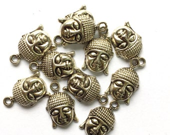 Tibetan Silver Buddha Head Charms 10pcs