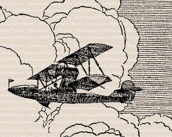 Vintage Airplane Clip Art - Aeroplane Illustration - Airplane Digital Stamp - Biplane Printable - history of flight - commercial use