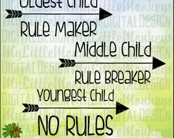 Sibling Rules Designs, Oldest, Middle, Youngest Cut File & Clipart Instant Download SVG, DXF, EPS, Full Color 300 dpi Jpg, Png