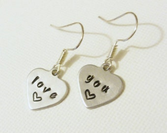 Hand stamped heart earrings