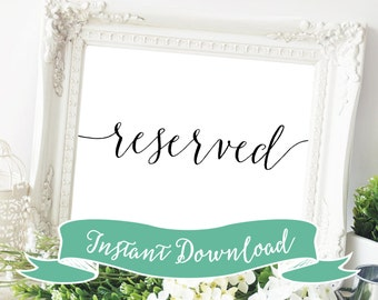 SALE PRINTABLE 5 x 7 Reserved Sign, Wedding Reserved Sign, Printable Wedding Sign, Reception Reserved Sign, Reserved for Family Sign, Black.