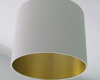 New Handmade Light Grey Mustard Quatrefoil Geometric Lampshade
