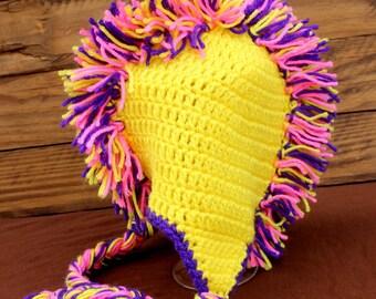 Crochet Yellow Mohawk Hat With Pink, Purple & Yellow Mohawk - Size Toddler/Preschooler