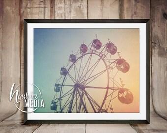 Instant Art Printable Download - Vintage Carnival Ferris Wheel Photography Image - Carnival Fair Photography Art - JPG Instant Download