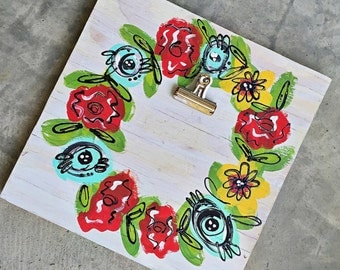 floral picture frame/12x12/handpainted