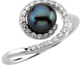 8.5-9mm Tahitian Black Pearl Ring in 2.50g 925 Sterling Silver BR71923STA