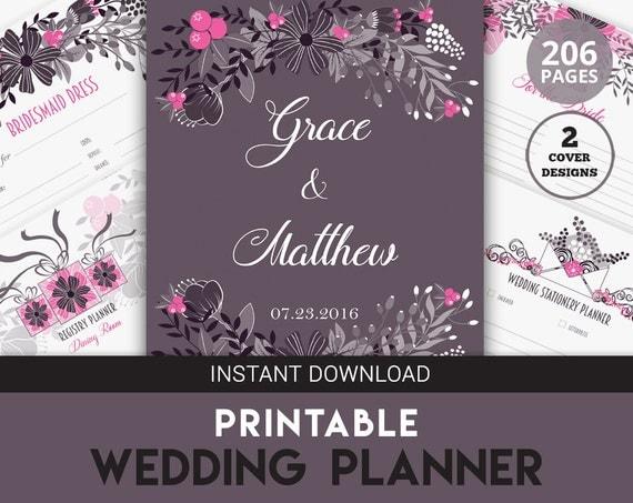Printable Wedding Planner Binder Planning A Rustic: Printable Wedding Binder Wedding Planner Organizer By