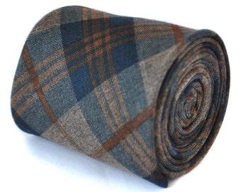 slim navy and brown 100% wool tweed check tie by Frederick Thomas FT2082