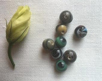 Set of 8 Murano Glass Beads/Striped Murano Glass Beads