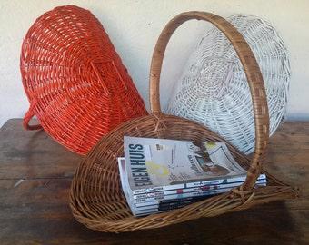 Wicker reading Basket, magazine basket, magazines Storageer, 70s home decor, Christmas gift, shabby chic home decor, 70s orange, bohemian