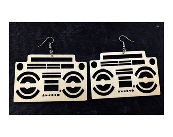 Wooden Earrings - Boombox