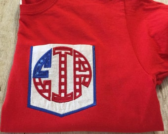 USA Flag Monogramed Pocket Tee