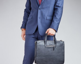 """Summer Sale! Briefcase - Slim Bag For 13"""" Laptop, Vegan Leather By SettonBrothers Gifts For Him Fathers Day Gift"""