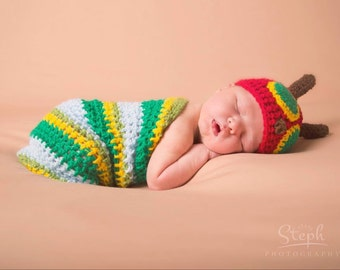 Very hungry caterpillar hat and cocoon newborn photo prop