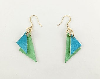 Triangular Leather Earrings, Blue and Green