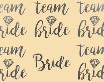 Ready to ship: Single Tattoo Silver Team Bride Bachelorette tattoos, Bridal party tattoo, bridal flash tattoo, bachelorette tattoo,