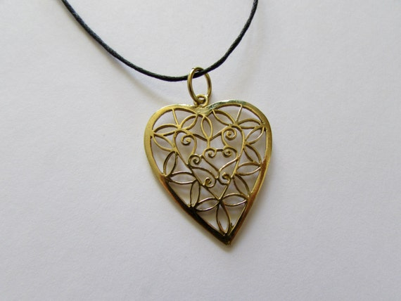Filigree Heart Pendant Brass On Wax Cord Adjustable Love Jewellery Friendship Gift Free UK Shipping + Gift Bag + Gift Box CH1