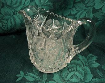 Glass Milk Pitcher, Vintage Creamer
