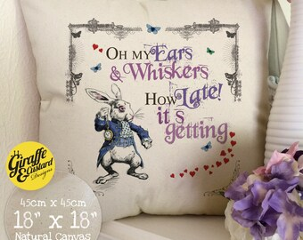 ALICE IN WONDERLAND Cushion Pillow Cover White Rabbit How Late