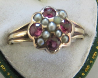 Antique Victorian 9ct Gold, Pearl & Garnet Ring