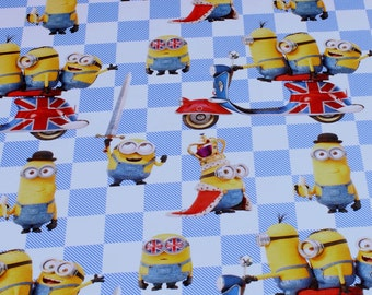 Fabric for children cotton elastane Single Jersey white Minions England