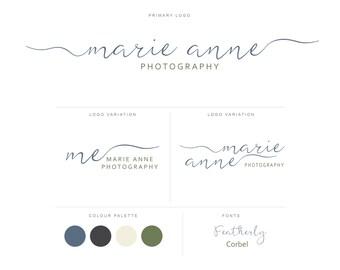 Branding Package - Photography Logo and Watermark - Handwritten Calligraphy Script - Logo Design - Watermark - Premade Marketing Kit - BPL14