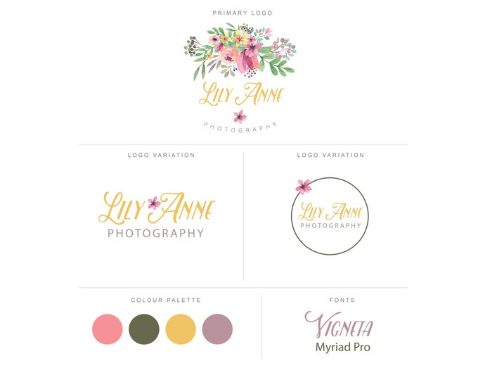 Branding Package - Photography Logo and Watermark - Watercolor Floral - Script - Logo Design - Watermark - Premade Marketing Kit - BPL11