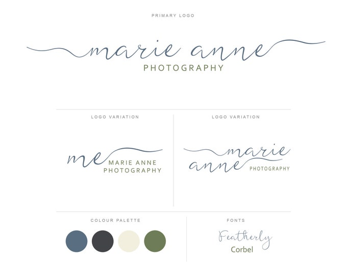 Branding Package - Photography Logo and Watermark - Handwritten Calligraphy Script - Logo Design - Watermark - Premade Marketing Kit - BPL14
