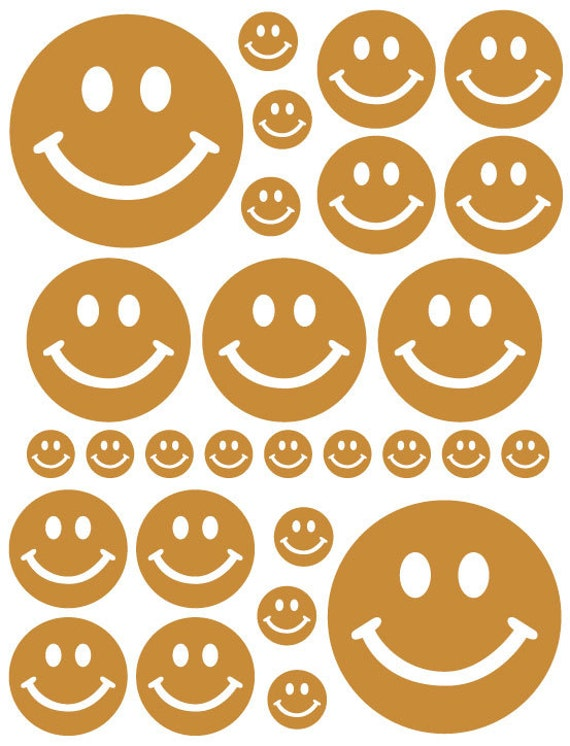 56 Caramel Tan Smiley Face Vinyl Polka Dots Bedroom Wall Decals Stickers Teen Kids Nursery Dorm Room Removable Custom Made Easy to Install