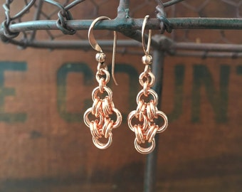 Silver or Copper Diamond 2 by 4 Dangle Earrings