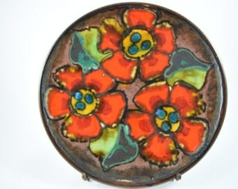 SALE West German Pottery bowl large plate wall plate by Ruscha, brown with red flowers, 1960